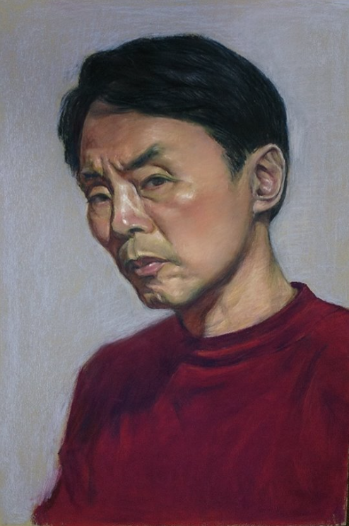 "pastel marvels: Bun Hui Ang, ""Self Portrait,"" pastel, 21 5/8 x 14 5/8 in"