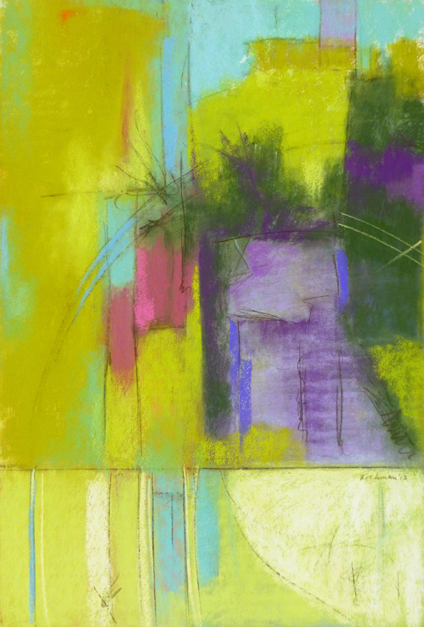 "Arlene Richman, ""Central Park in July-Wednesday,"" pastel, 14 x 21 1st place winner in Abstract category of The Pastel Journal's 100 competition 2013"