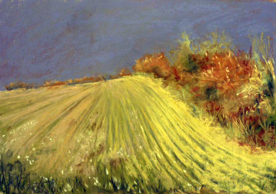 "Arlene Richman, ""A Field in France,"" pastel, 9 x 12"