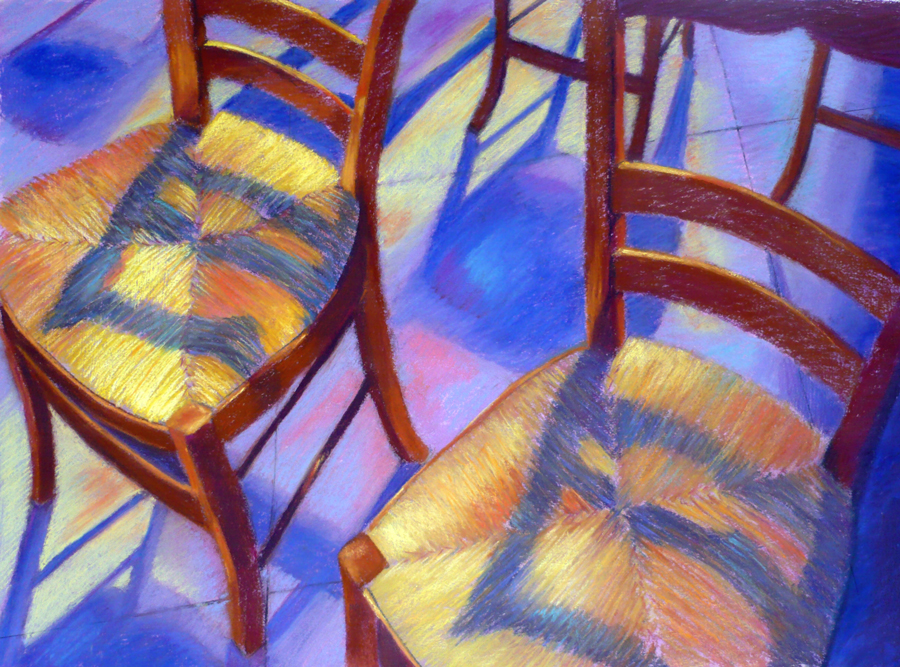 "Arlene Richman, ""French Church Chairs,"" pastel, 21 x 29 in"