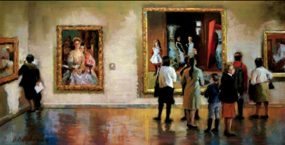 """pastel marvels: Jerry Boyd, """"Viewing The Sargents,"""" pastel, 12 x 24 in"""