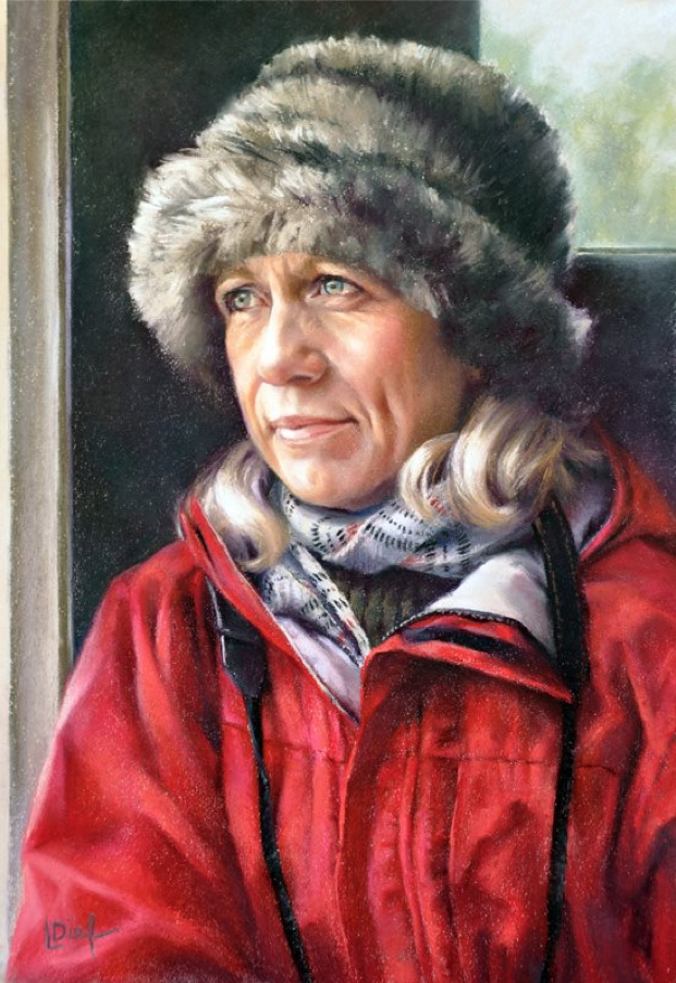 "pastel marvels: Lyn Diefenbach, ""The Traveller (Self Portrait),"" pastel on paper, 22 x 15 in"