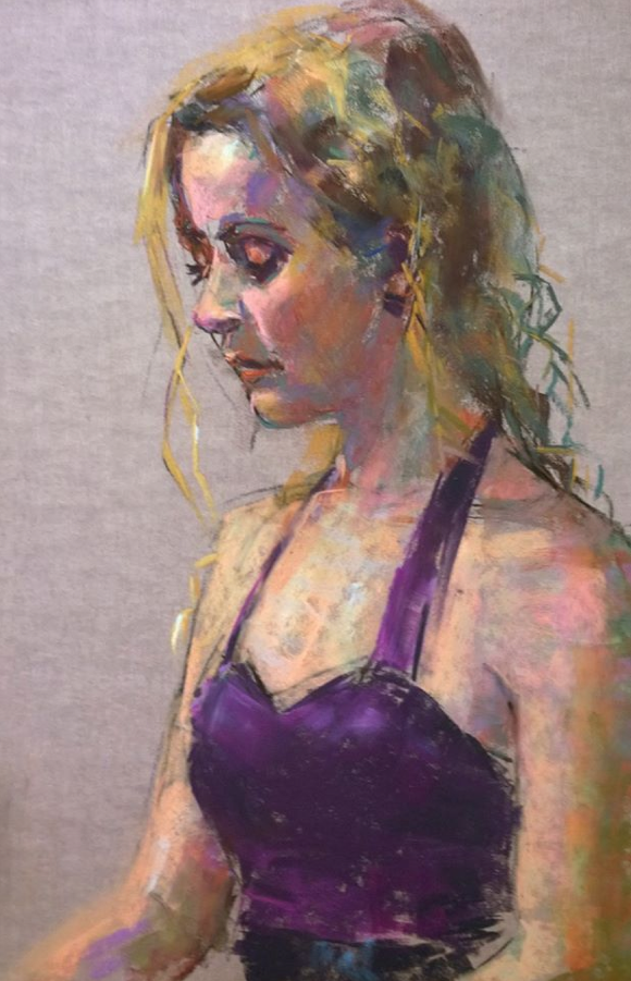 "pastel marvel: Orit Reuben,"" Jenny in a Purple Dress,"" pastel, 18 x 12 in"