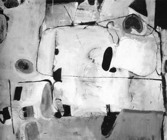 Richard Diebenkorn, Untitled 'M', 1951, oil on canvas, 43 1-8 x 52 3-4 in, San Francisco Museum of Modern Art  - bxw