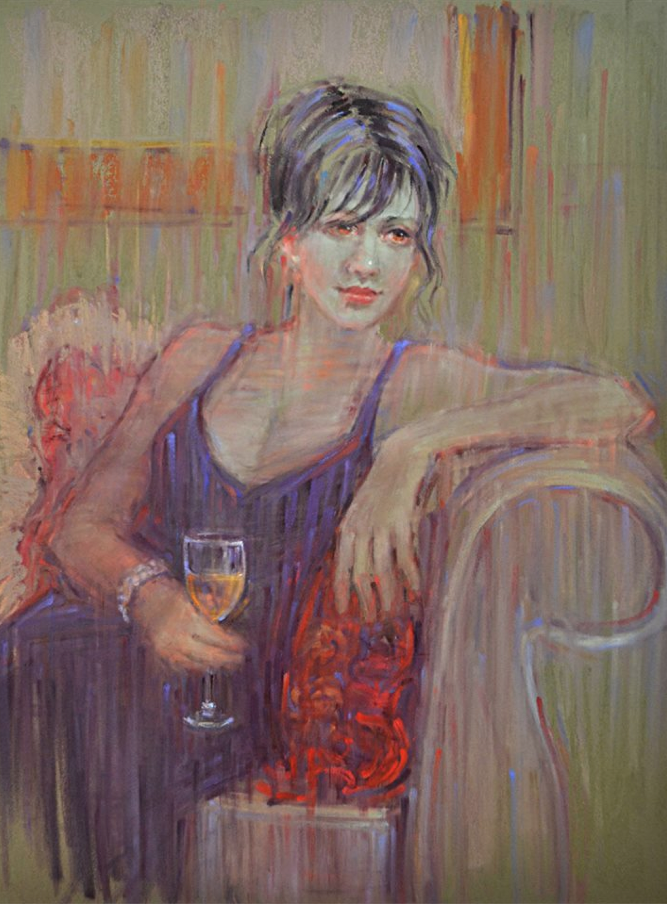"""pastel marvels: September McGee, """"Remembering,"""" pastel on colourfix panel, 16 x 12 in"""
