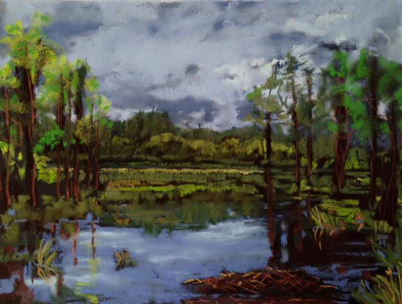 "May's Fabulous pastels: Becky Harblin, ""Morning Marsh,"" plein air pastel on sanded paper, 16 x 20 in"