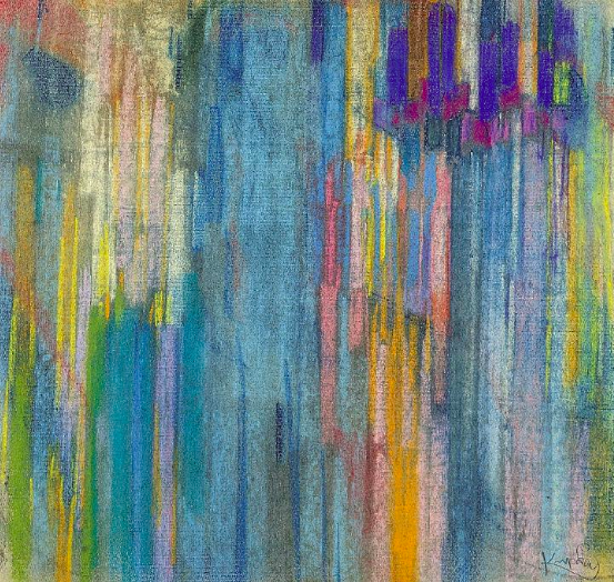 "Frantisek Kupka, ""Arrangement of Verticals,"" 1911-1913, pastel on gray paper,18 7/8 x 19 5/8 in (48 x 50 cm), Musee National d'Art Moderne, Centre Pompidou, Paris"