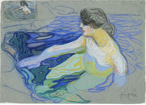 "Frantisek Kupka,"" Bather,"" 1906, pastel and charcoal on gray paper, 11 1/2 x 15 3/4 in, Museum of Modern Art, New York"