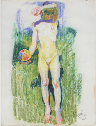 "Frantisek Kupka, ""Girl with a Ball,"" c.1908, pastel on paper, 24 1/2 x 18 3/4 in, Museum of Modern Art, New York"