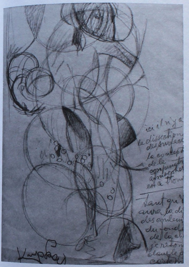 "Frantisek Kupka, ""Study for Girl with a Ball,"" 1908-09, pencil on paper, 10 3/4 x 7 3/8 in, Museum of Modern Art, New York"