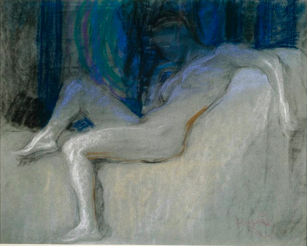 "Frantisek Kupka, ""Study for Planes by Colours, Large Nude,"" 1909-10, pastel on gray paper, 17 3/4 x 22 in (45 x 56 cm), Musee National d'Art Moderne, Centre Pompidou, Paris"