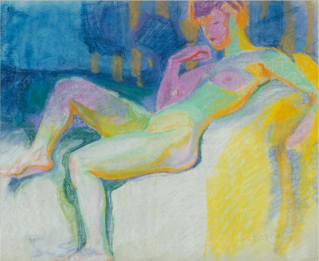 "Frantisek Kupka, ""Study for Planes by Colours, Large Nude,"" 1909-10, pastel on papier, 18 7/8 x 23 5/8 in (48 x 60 cm), Musee National d'Art Moderne, Centre Pompidou, Paris"