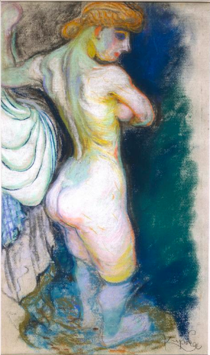 "Frantisek Kupka, ""Study for l'Eau (Water) - Standing Bather,"" 1906-09, pastel and charcoal on paper, 18 7/8 x 11 3/8 in (48 x 29 cm), Musee National d'Art Moderne, Centre Pomidou, Paris"