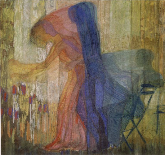 "Frantisek Kupka, ""Woman Cutting Flowers I,"" 1910-11, pastel, watercolour and graphite on paper, 17 3/4 x 18 3/4 in (45 x 47.5 cm), Musee National d'Art Moderne, Centre Pompidou, Paris"
