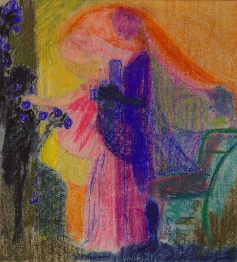 "Frantisek Kupka, ""Woman Cutting Flowers III,"" 1909, pastel on paper, 16 5/8 x 15 3/8 in (42.3 x 39 cm),  Musee National d'Art Moderne, Centre Pompidou, Paris"