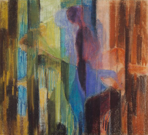 "Frantisek Kupka, ""Woman Cutting Flowers V,"" 1910-11, pastel on paper, 18 7/8 x 20 1/2 in (48 x 52 cm), Musee National d'Art Moderne, Centre Pompidou, Paris"