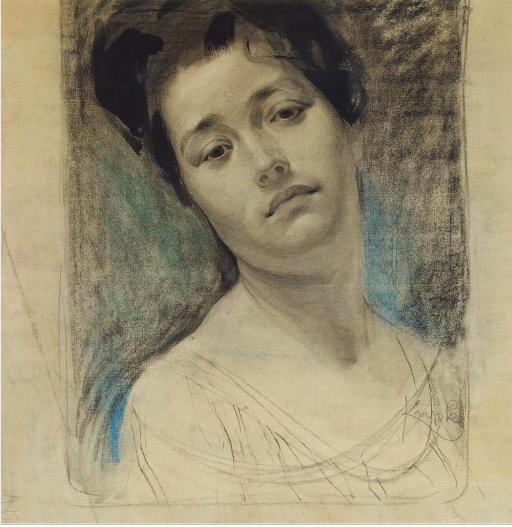 "Frantisek Kupka, ""Woman's Face,"" 1909, pastel, charcoal and ink on paper, 16 5/8 x 15 3/8 in (42.3 x 39 cm), Musee National d'Art Moderne, Centre Pompidou, Paris"