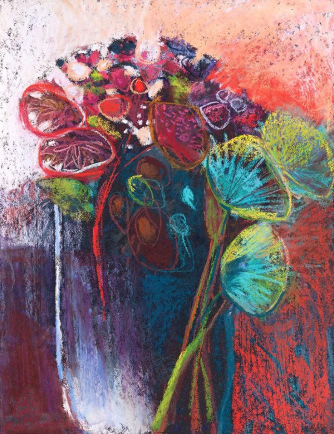 "pastel favourites: Halla Shafey, ""I Have A Garden,"" pastel, 15 3/4 x 11 3/4 in"