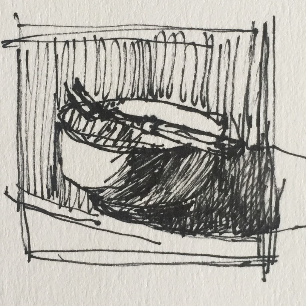 White paper vid: The thumbnail sketch, pen and ink, about 1 1/2 x 1 1/2 in