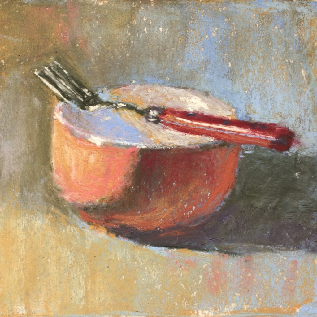 "The final piece after 35 minutes of pasting. Gail Sibley, ""Orange Bowl, Red Fork,"" Terry Ludwig pastels on Wallis white paper, 5 1/2 x 5 1/2 in"