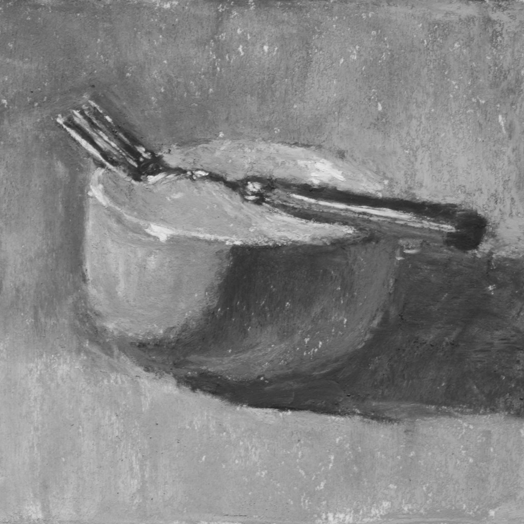 """And just for fun, the final piece in black and white. Gail Sibley, """"Orange Bowl, Red Fork,"""" Terry Ludwig pastels on Wallis white paper, 5 1/2 x 5 1/2 in"""