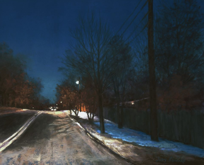 "Pastel favourites: Judy I. Howard, ""One Winter Evening,"" pastel on UArt paper, 9 x 11 in"