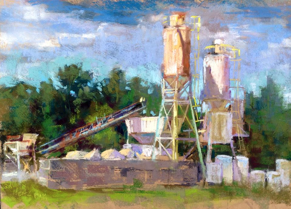"May's Fabulous pastels: Nancie King Mertz, ""Hooper-esk,"" plein air pastel on textured panel, 12 x 17 in"