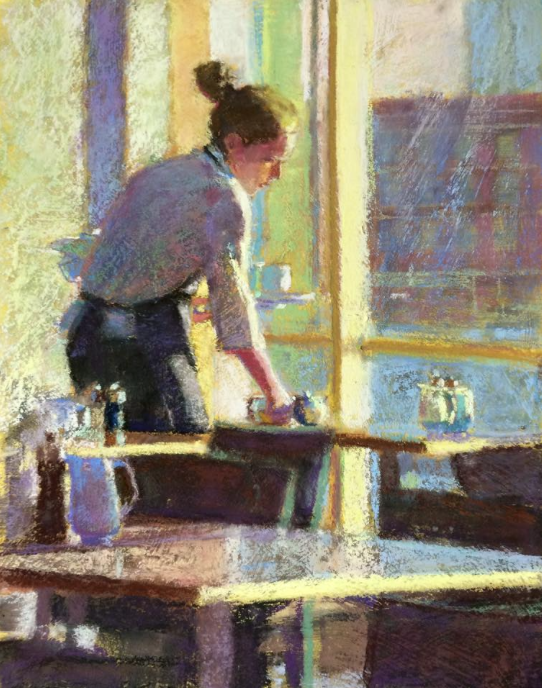 "Pastel favourites: Ronnie Mulhern Offen, ""After the Morning Rush,"" pastel on pumiced gatorboard, 14 x 11 in"
