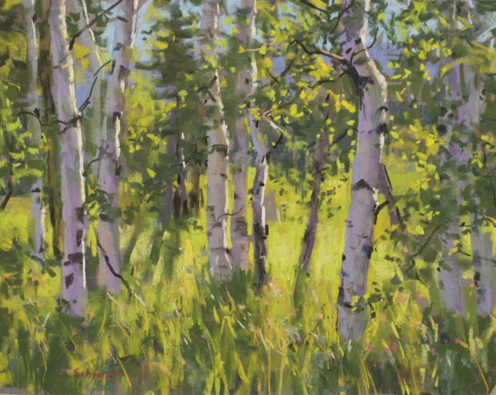 "the Landscape Interviews: Aaron Schuerr, ""Morning Aspens,"" pastel, 9 x 12 in"