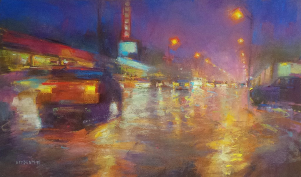 "the Landscape Interviews: Andrew McDermott, ""Night Reflections,"" pastel, 15 x 26 in"