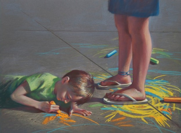 "IAPS Interviews: Christine Swann, ""Art Critic,"" pastel, 20 x 28 in"