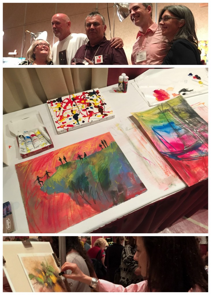 IAPS - Paint Around participants, My playful paint experiments, Stef pastelling at the Holbein booth