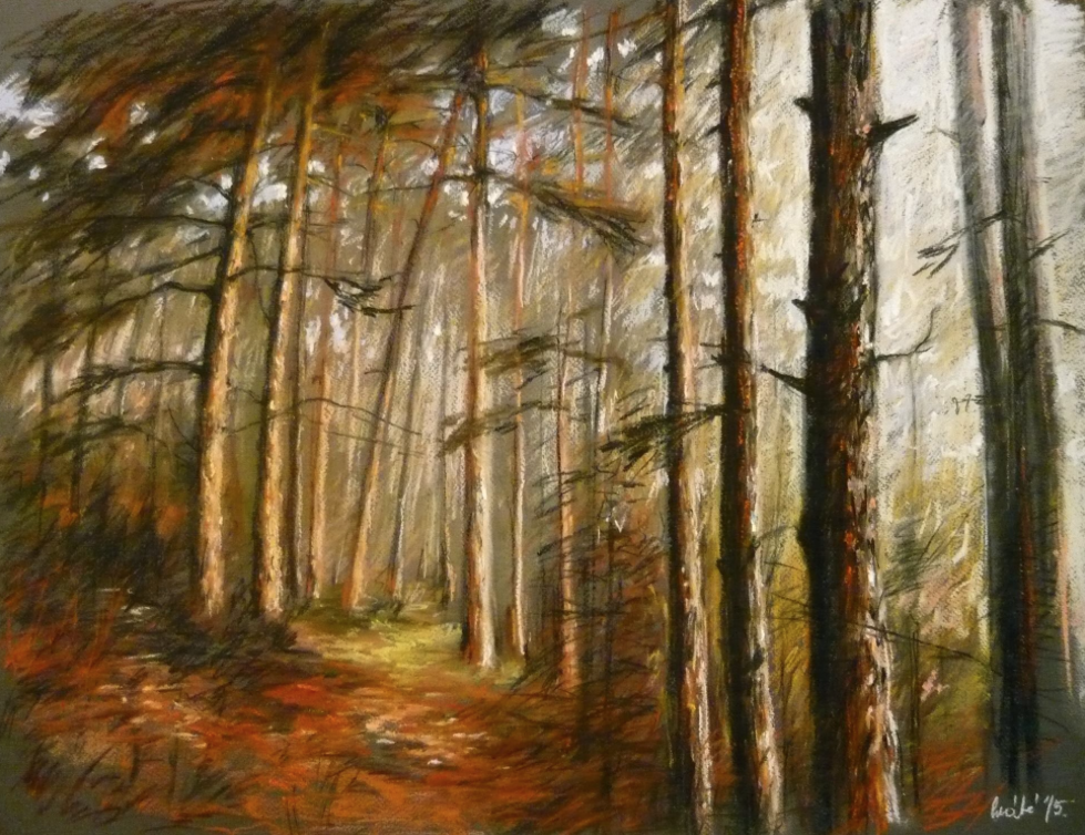 "May's Fabulous Pastels: Mate Sandor, ""Hugging Trees,"" pastel, 50 x 70 cm (19 3/4 x 27 1/2 in)"