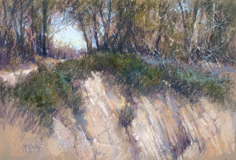 "the Landscape Interviews: Richard McKinley, ""Cliffs of Golita,"" pastel, 12 x 18 in"