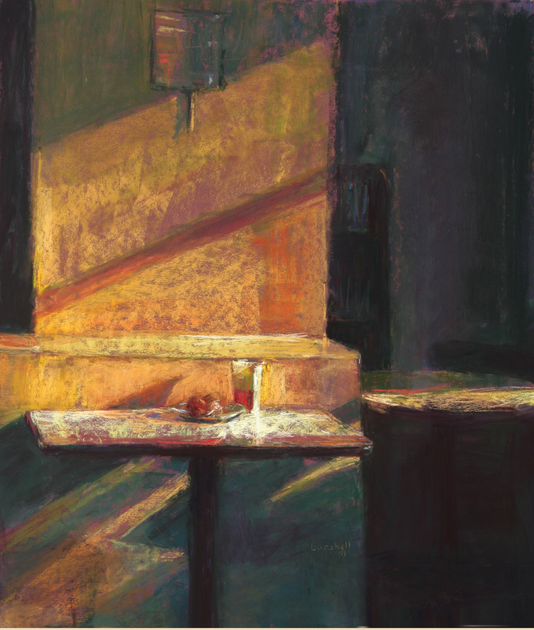 "IAPS Interview: Sandra Burshell, ""Streaming Light (Fairtrade Cafe),"" pastel, 19 x 17 in"