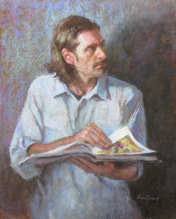 """May's Fabulous Pastels: Vianna Szabo, """"Pause,"""" Terry Ludwig pastels on UArt paper, 20 x 16 in"""