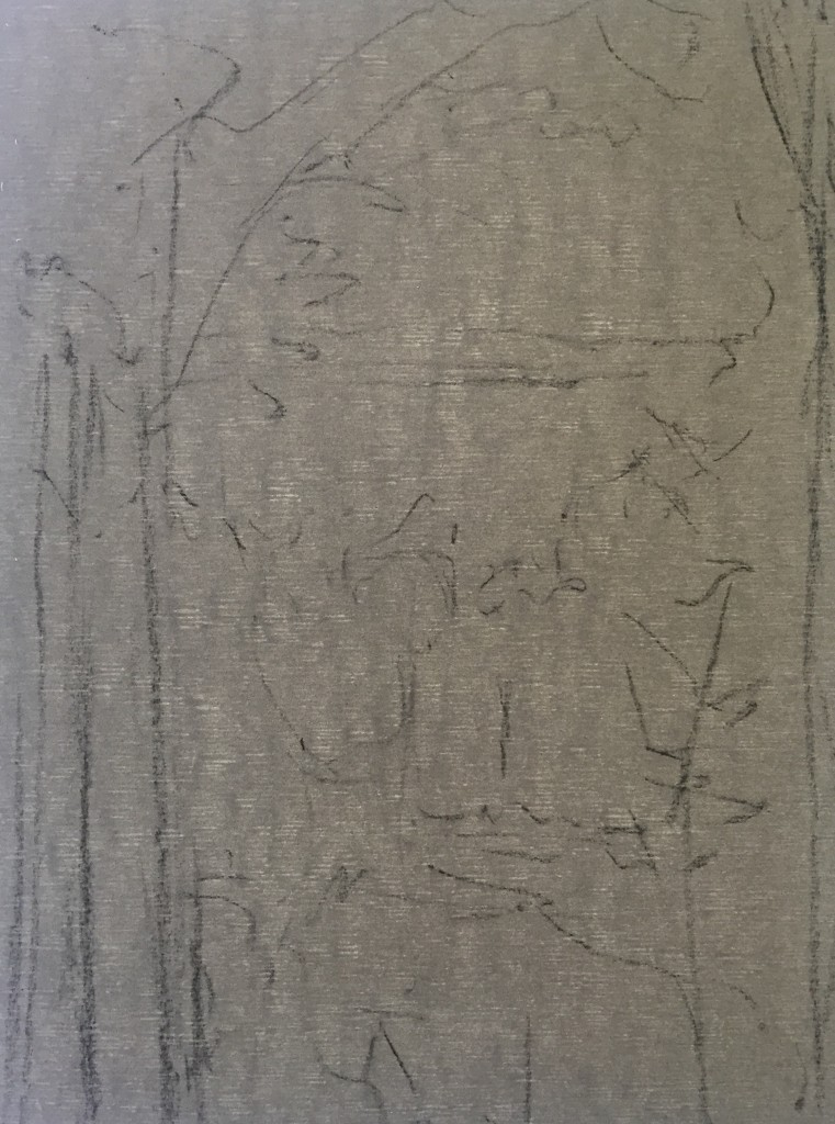2. The charcoal drawing on Wallis paper in prep for the plein air painting