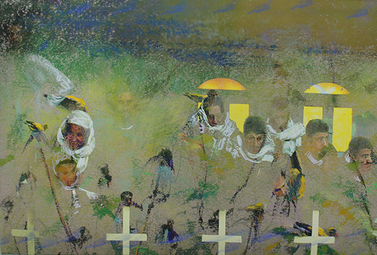 "Donna Yeager, ""Coptic Christian Mourners,"" photograph of families, pastel painting Finch Feast used as bottom layer in Photoshop, and coloured pencils"