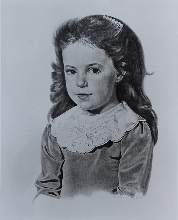 "Donna Yeager, ""Katie,"" graphite pencil, 20 x 16 in"