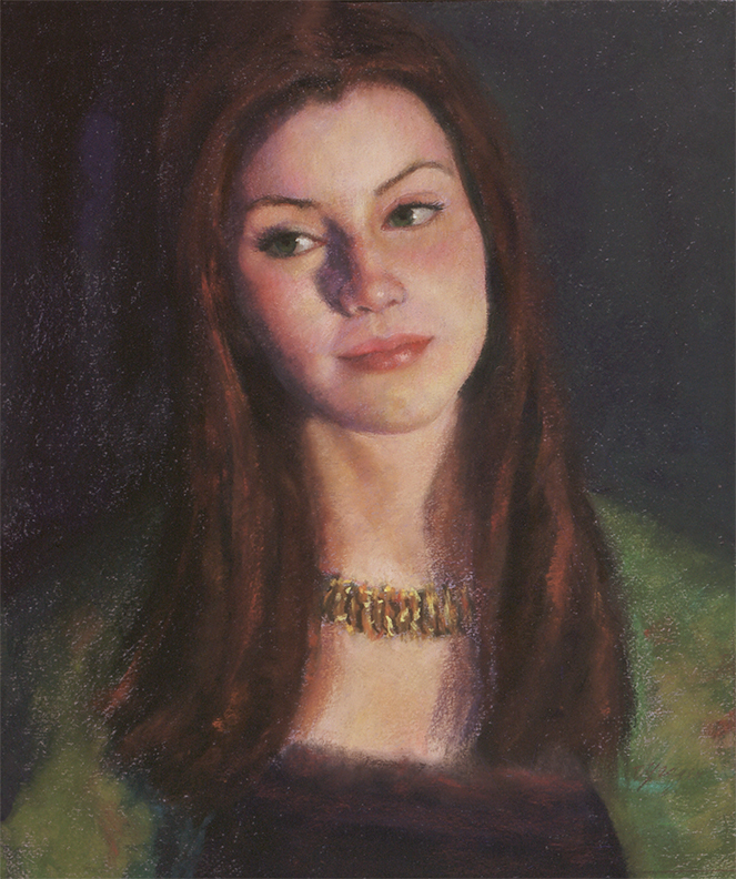 "Donna Yeager, ""Danielle in Green,"" pastel on Canson Mi-Tientes paper, 20 x 16 in"