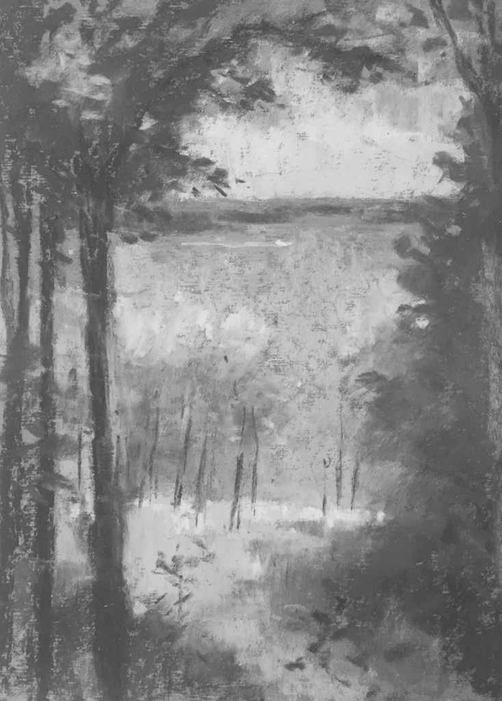8. Let's have a look at the plein air pastel as it stands in black and white. A much closer feeling of looking at the light from the darkness. Just a few more tweaks..