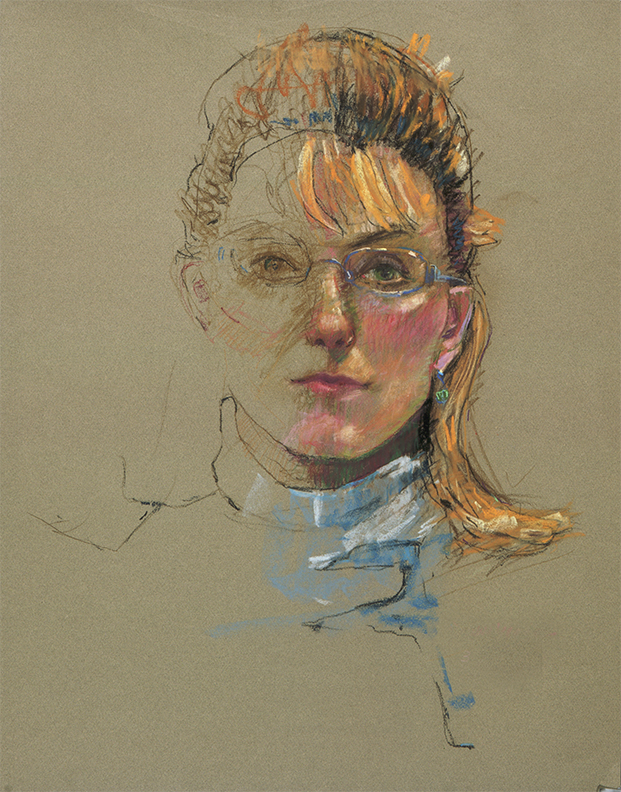 "Donna Yeager, ""Frayed-A Self Portrait,"" pastel on Canson Mi-Tientes paper, 25 x 19 in"