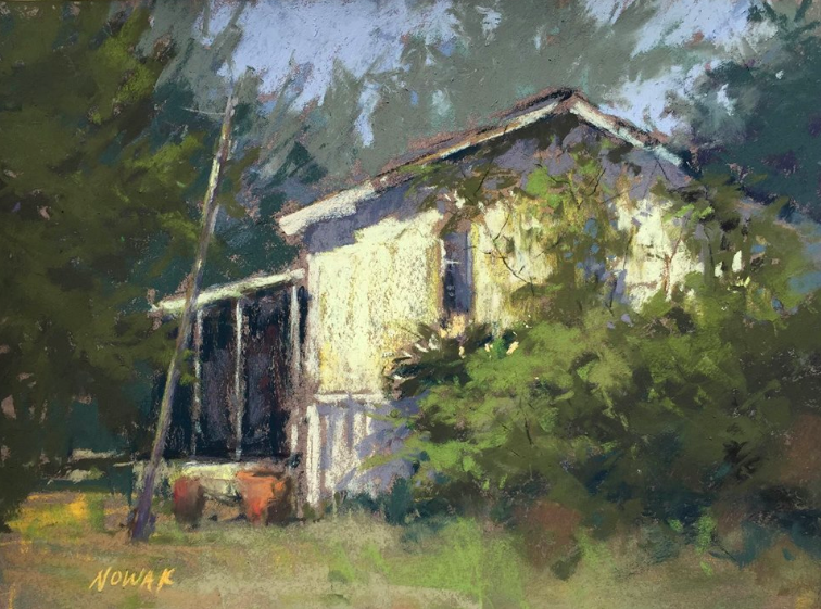 "June's Remarkable Pastels: Nancy Feinman Nowak, ""Right at the Corner,"" plein air pastel, 9 x 12 in"