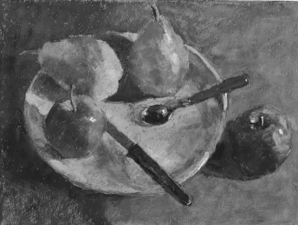 And because it's kind of interesting, here's the above photo of the still life rendered in black and white. (I didn't actually take the photo in black and white which may have turned out a bit differently.
