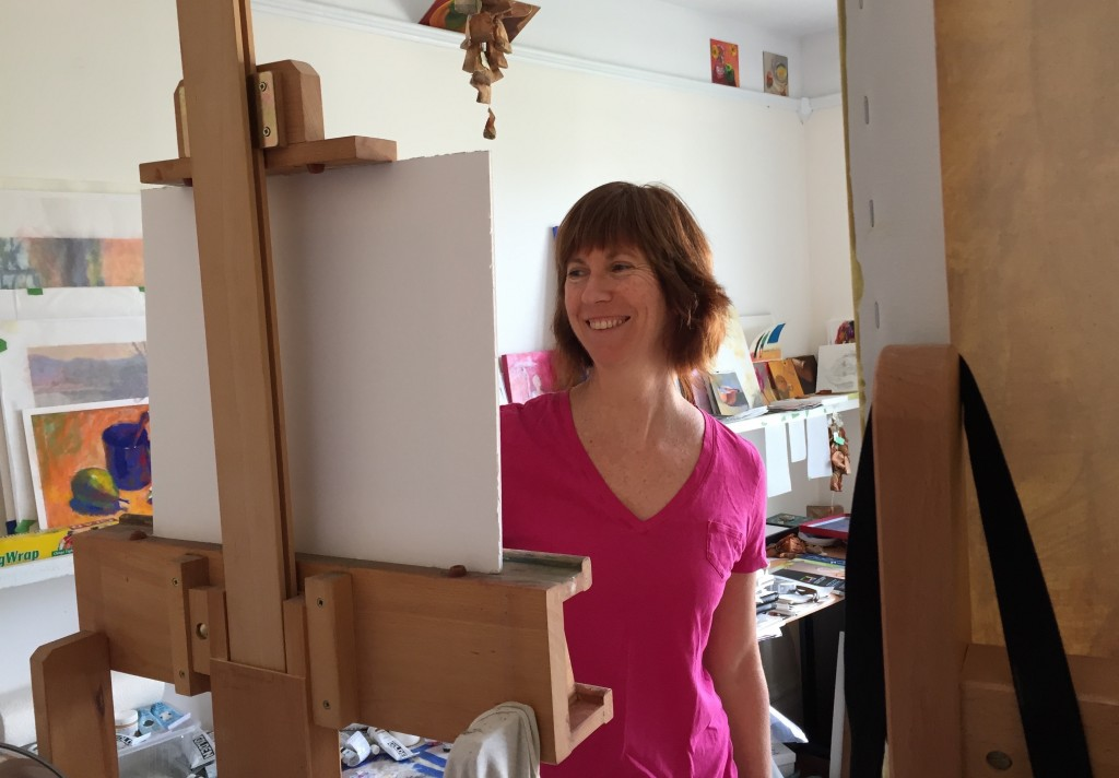When Plans Go Sideways: a photo of me in my studio looking happy - NOT how I was that day!