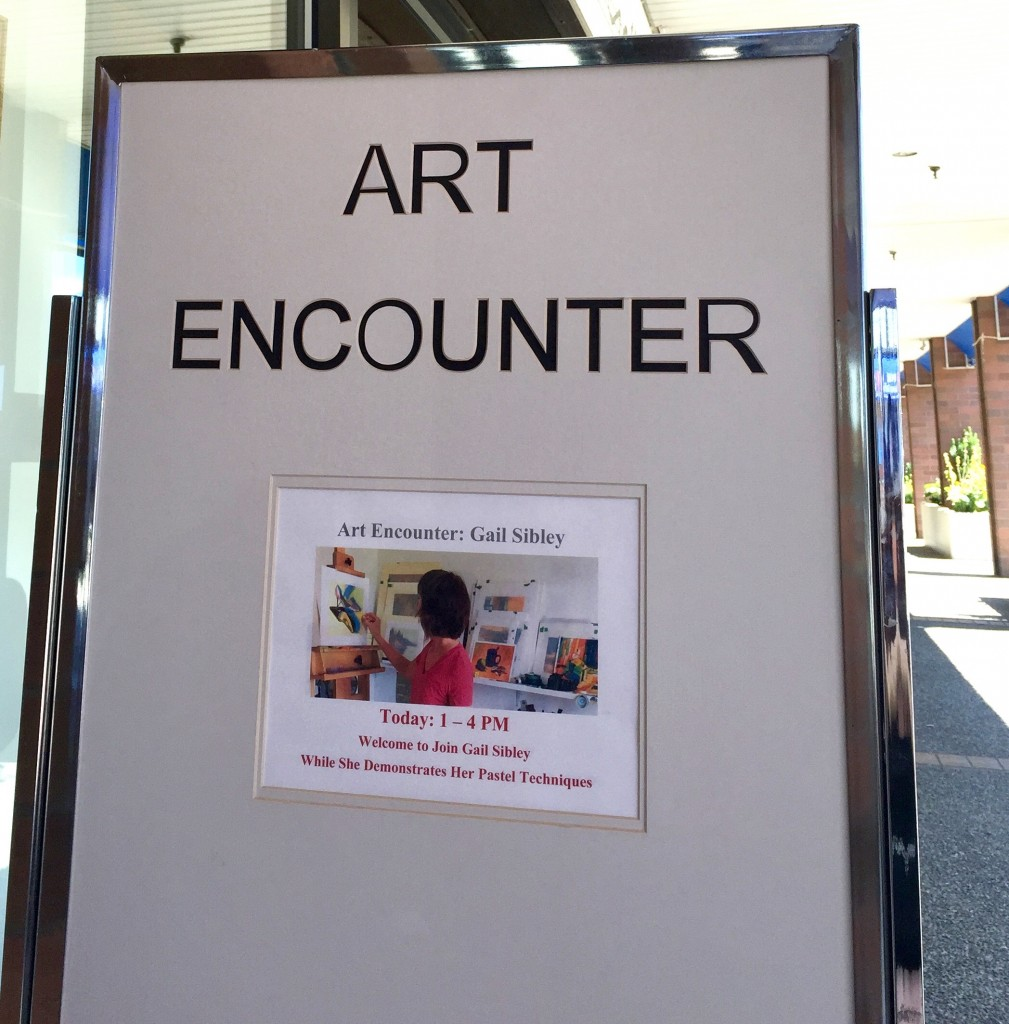 It was exciting to see my still life demo being advertised outside the doors of the prestigious Peninsula Gallery!