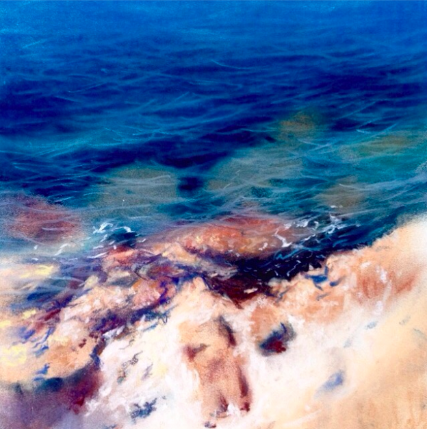 "pastel picks: Jorge Gomez, ""The Mediterranean Sea,"" soft pastel on Canson, 8.3 x 11.7 in"