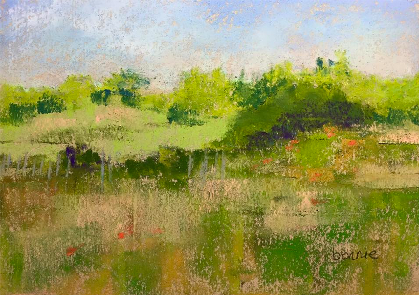 """August's Awesome Pastels: Bonnie Morgan Hyde, """"Plum Island,"""" pastel on Canson Mi-Tientes hemp paper, 5 x 7 in"""
