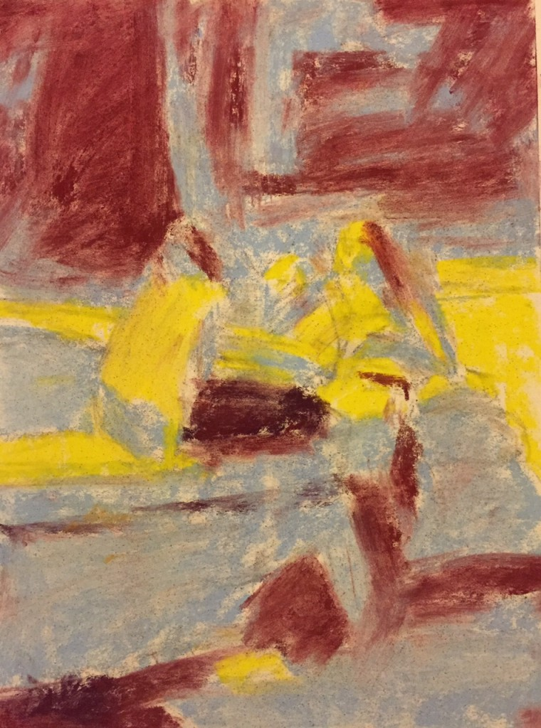 Budapest pastel: 4. In this image, I've taken paper towel and 'smudged' the pastel to create an underpainting. Since I am working on white paper, I want to remove as much pure white colour as possible.