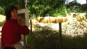 Gail Sibley painting on location